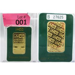 1 Oz. Johnson Matthey .9999 Gold Bar