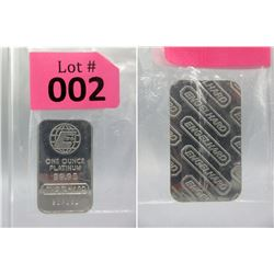 Vintage 1 Oz. Englehard .9995 Platinum Bar