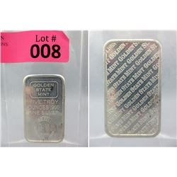 5 Oz. Golden State Mint .999 Fine Silver Bar