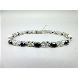 7.8 CT Blue Sapphire & Diamond Infinity Bracelet