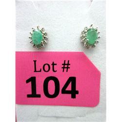 New Emerald & Diamond Stud Earrings