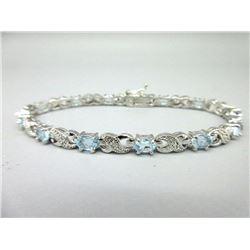 Blue Topaz & Diamond Tennis Bracelet