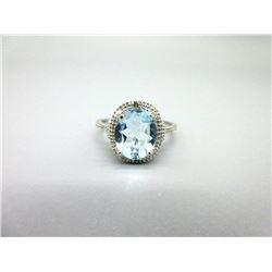 3.5 CT Diamond & Blue Topaz Solitaire Ring