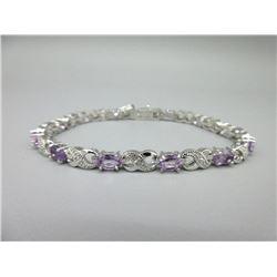 Amethyst 7 Diamond Tennis Bracelet
