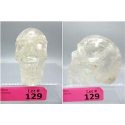 Large Clear Quartz Gemstone 3D Carved Skull