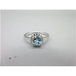 Sterling Silver Baby Blue Topaz Solitaire Ring