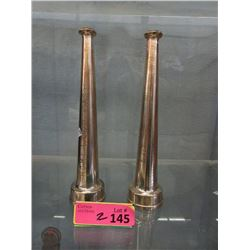Pair of Vintage Polished Brass Fire Hose Nozzles