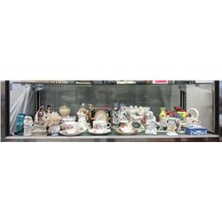 Shelf Lot of China, Glass and Wood Collectibles