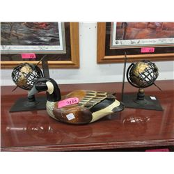 Carved & Painted Duck Decoy & Globe Bookends