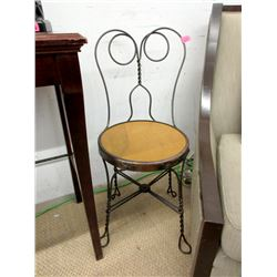 Metal Ice Cream Parlour Chair with Wood Seat