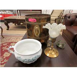 Vintage Chamber Pot, Brass Coal Scuttle & Lamp