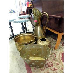 Brass Floor Vase, 2 Planters  & Round Vase