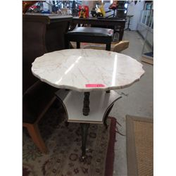 Round Marble Topped Side Table with Shelf