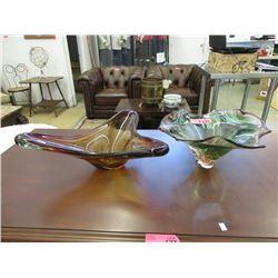2 Large Art Glass Bowls