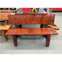 Four Foot Long Hand Crafted Wood Bench