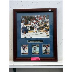 Wood Framed Wayne Gretzky Memorabilia