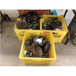 Electric Sander & 3 Crates of Casters.