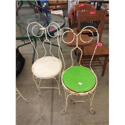 Pair of Metal Framed Ice Cream Parlour Chairs