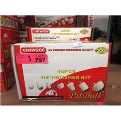 """3 New 14 Piece 1/4"""" Polisher Kits"""