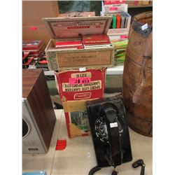 Vintage Wall Phone, Lantern & Playing Cards