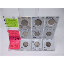 Vintage Canadian 80% Silver 25¢ & 50¢ Coins