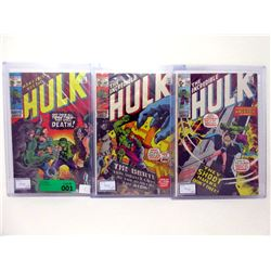 "Three 1971 ""Incredible Hulk"" 15¢ Marvel Comics"