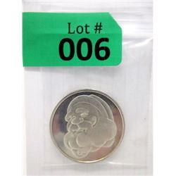 1 Ounce .999 Fine Silver 1999 Santa Art Round