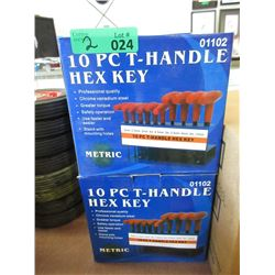 2 New 10 Piece T-Handle Hex Key Sets