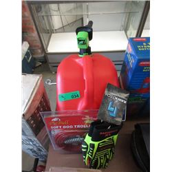 Gas Can, 50 Foot Dog Trolley & Pair Safety Gloves