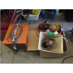 Industrial Heater & Box of Assorted Goods