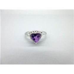 1.1 CT Amethyst & Diamond Sterling Silver Ring