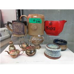 Shetland Pottery Mugs, Brass Collectables & More