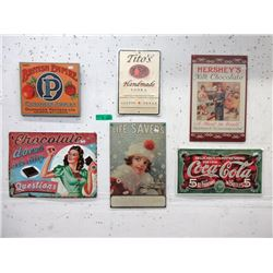 """6 Advertising Tin Signs - Largest is 12 x 16"""""""