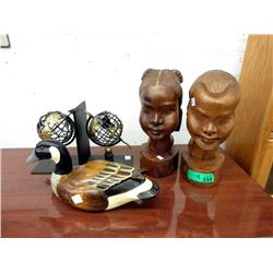 African Busts, Carved  Duck Decoy & Bookends
