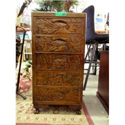 5 Drawer Carved Wood Asian Chest