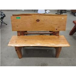 3.5 Foot Long Hand Crafted Solid Wood Bench