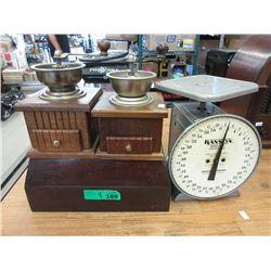 Wood Box, 2 Coffee Grinders & Vintage Scale