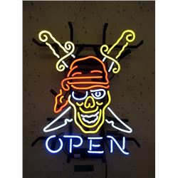 """New Electric Neon """"Open"""" Pirate Sign"""