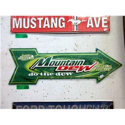 "New ""Mountain Dew"" Metal Arrow Sign"