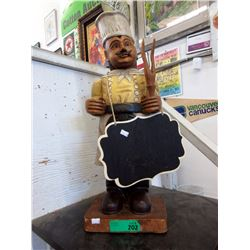 "25"" Tall Chef Statue with Chalk Board"