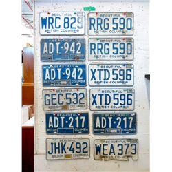 13 Vintage BC License Plates