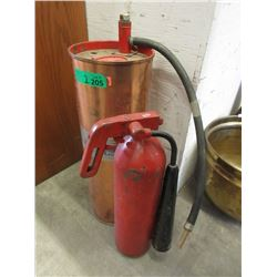 Vintage Cast Iron & Copper Fire Extinguisher
