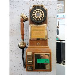 Coin Operated Oak Wall Phone