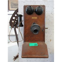 Vintage Northern Electric Oak Wall Phone