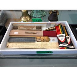 Vintage Pencils, Rulers, Brass Plumb Bob & more
