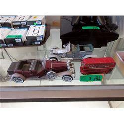 Corgi Bus and 2 Franklin Mint Car Models