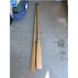 """Pair of Canadian Made """"Outdoor Scene""""  Oars"""