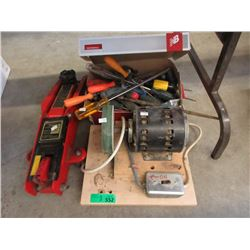Bench Grinder, Trolley Jack & Box of Tools