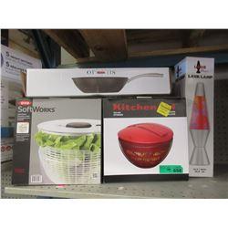 Lava Lamp, Stir Fry Pan & 2 Salad Spinners