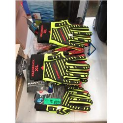 12 Pairs of New Rawktech Gloves - Size L & XL